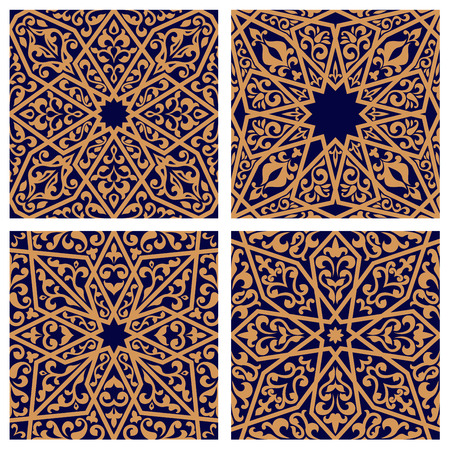 Arabic seamless patterns with traditional eastern ornaments with floral elements on dark blue background. For tile or carpet design