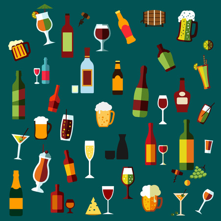 alcohol logo: Flat alcohol beverages and cocktails icons of wine bottles, champagne, martini, beer, whisky, brandy and vodka, cocktail and wine glasses, beer mugs with some light snacks and corkscrews on dark turquoise background Illustration