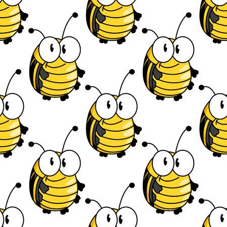 tiras comicas: Divertido de la historieta escarabajos de color amarillo brillante o bugs patr�n con franjas negras en la parte trasera y peque�as antenas