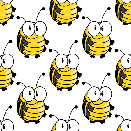 googly: Funny cartoon bright yellow beetles or bugs seamless pattern with black strips on the back and small antennae