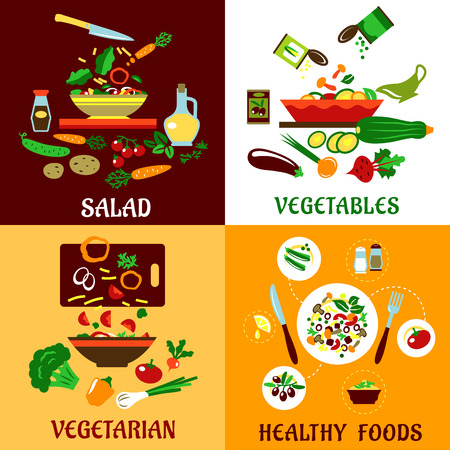 Healthy vegetarian food design with cooking process, fresh and preserved vegetables, served dinner with cutlery and ingredient icons with captions Salad, Vegetables, Vegetarian and Healthy Food