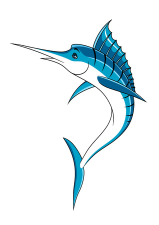 blue and white: Jumping atlantic blue marlin fish in cartoon style with long bill, blue dorsal fin and spine with black stripes for fishing or seafood design