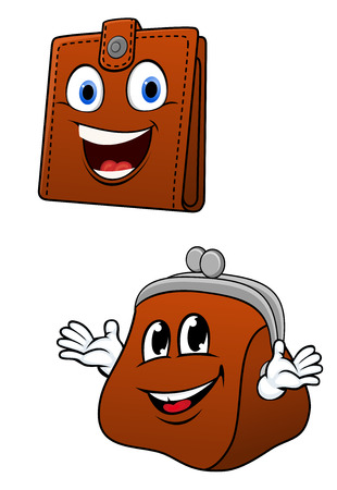 brown leather: Cartoon wallet and purse characters as retro fashioned and modern brown leather accessories with toothy smiles, for saving or shopping concept design