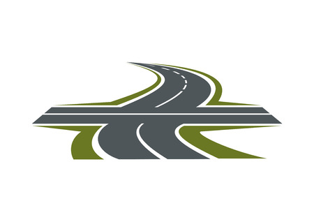 Crossroad abstract symbol with intersection of speed highway and rural winding road for transportation design Illustration