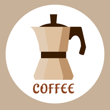 sign maker: Beige coffee maker or mocha pot icon in flat style with caption Coffee isolated on background. For coffee shop or cafe design