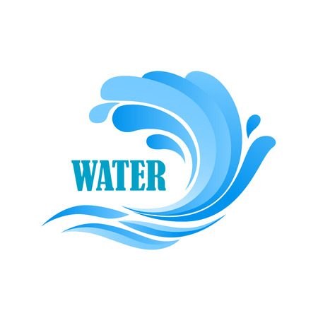 drop water: Sea wave with blue water drops and splashes for business, nature or travel design Illustration