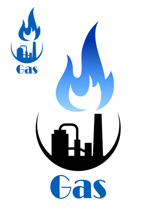blue flame: Factory pipes icon with blue flame of blue natural gas and wih storage tanks, for industrial or mining concept design