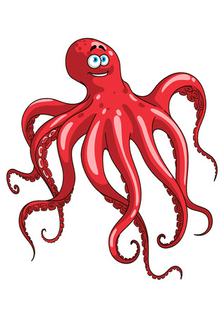 cartoon octopus: Happy red octopus animal cartoon character waving by long tentacles with numerous suckers isolated on white background.  For mascot, wildlife or seafood design
