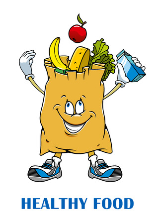 banana caricatura: Compras de papel personaje de dibujos animados con bolsa de verduras frescas, frutas, zonas verdes y productos l�cteos para la nutrici�n saludable o dise�o de la tienda ecol�gica