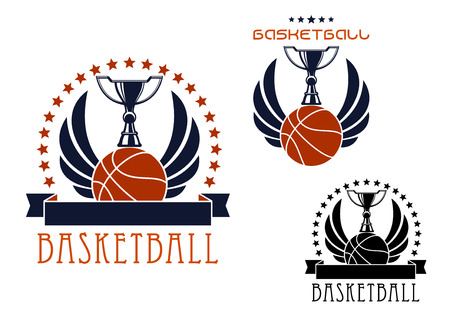 Basketball competition emblems and icons design with trophy cups standing on winged basketball balls, framed by stars and blank ribbon banners. Isolated on white background