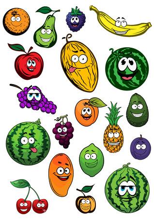 Fresh orange, pear, blackberry, banana, apple, melon, grapes, watermelons, apricots, pineapple, avocado, plum, lemon, mango and cherry fruits cartoon characters