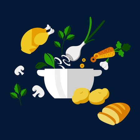 white bread: Fresh dinner cooking design with big white porcelain bowl, filled fresh vegetables and spicy herbs such as carrot, onion, garlic, mushrooms, potatoes, parsley and basil with chicken and slice of white bread placed near on the table. Flat style