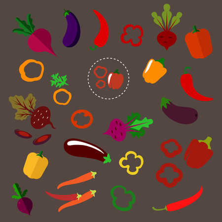 Colorful fresh beets with lush haulms, chili peppers, eggplants, sliced and whole red, orange, yellow bell peppers vegetables in flat style,  for agriculture or natural food design Illustration