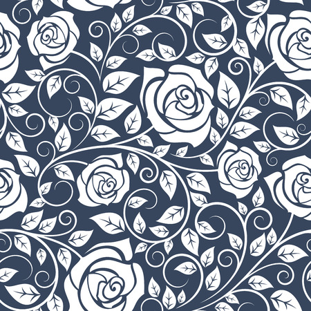 leafage: Seamless pattern with curved stems of white roses and lush leafage on gray background, for retro wallpaper or fabric design