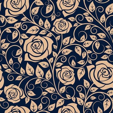Floral seamless di rose in fiore su ramoscelli ondulato con punte ricurve e vegetazione lussureggiante su sfondo blu scuro, per carta da parati o interior design tessile Archivio Fotografico - 42177322
