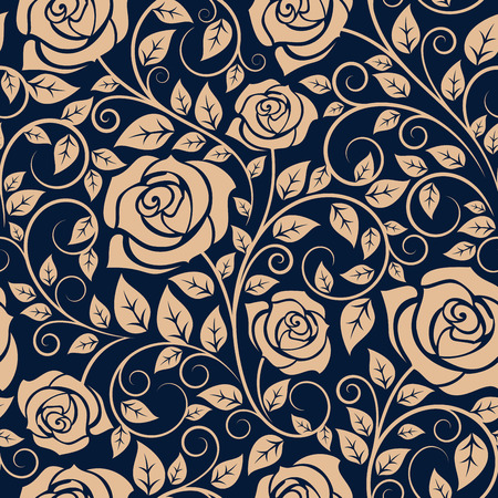 Floral seamless pattern of blooming roses on wavy twigs with curved tips and lush foliage on dark blue background, for interior wallpaper or textile design