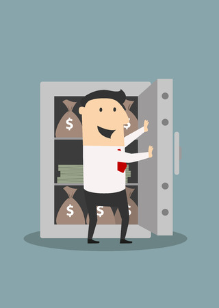 safe: Happy smiling businessman opening the heavy door of metal safe with money bags and stacks of dollars in cartoon flat style suited for safety or security concept design