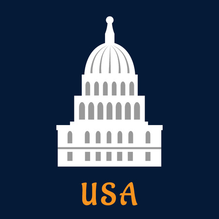 government: United States Capitol concept in flat style depicting building of US congress in Washington DC on dark blue background with caption USA for travel or government design Illustration