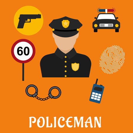 car speed: Policeman profession concept with officer in black uniform surrounded by police car, portable radio transceiver, fingerprint, handcuffs, gun and speed limit sign