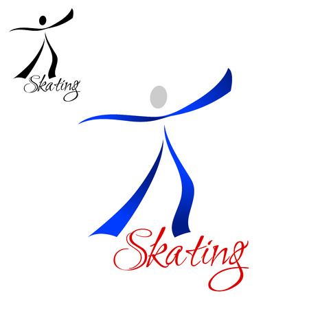 Male dancer skating abstract symbol with  blue curved ribbons silhouette isolated on white background, with red caption Skating