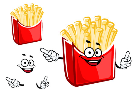 fry: Funny french fries box cartoon character with takeaway red box with classic shaped crispy potato isolated on white background. For fast food design