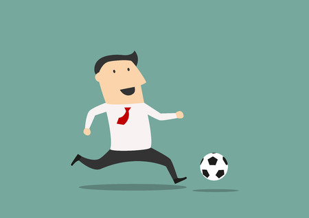soccer: Cartoon businessman football player running with the ball on th field Illustration