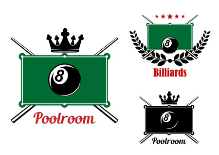 cues: Pool, snnoker and billiards emblems with billiard eight balls, game tables and crossed cues decorated by crown, stars and laurel wreath