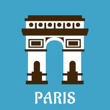 napoleon: Arc de Triomphe travel landmark icon in flat style depicting exterior facade of the famous historical memorial of France and Paris Illustration