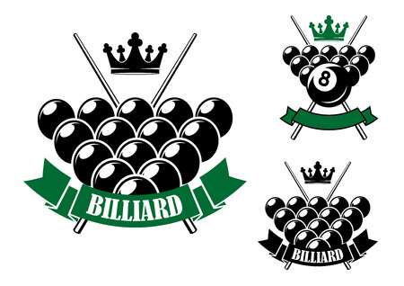 billiards cues: Billiards or pool icons design with billiard balls in starting position, crossed cues on the background, crowns and ribbon banners