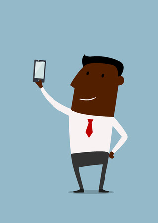 business phone: Cartoon african american businessman taking selfie using a mobile phone, flat style