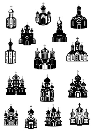 monasteries: Temple, church fane and shrine icons with facades of catholic or orthodox religion domed buildings with crosses on the tops, for cultural or religious concept Illustration