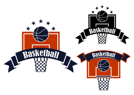 balls decorated: Basketball symbols in blue and orange colors depicting basketball backboards with baskets and balls, decorated by ribbon banners and stars, for sports design