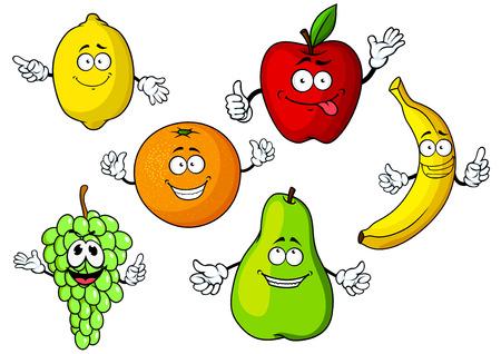 limon caricatura: Jugosas frescas de manzana de dibujos animados, limón, naranja, plátano, manojo de uva y pera frutas personajes con caras lindas sonrientes, aislados en fondo blanco, para la agricultura o el diseño de la comida vegetariana