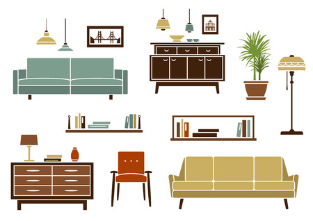 pendant lamp: Home furninture and interior accessories with modern sofas and armchair, wooden bookshelves and chests of drawers, floor lamp and colorful pendant lamps. Flat style objects and icons Illustration
