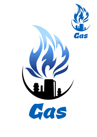 gas refinery: Natural gas refinery factory icon with nozzle of industrial plant pipe and big blue flame, isolated on white background