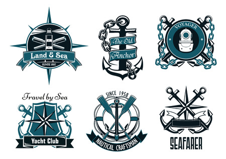 bussola: Retro emblemi araldici nautici e badge con ancore marine, bussole, pagaie, faro, i cannocchiali e casco immersioni epoca incorniciati da scudo, salvagente, banner nastro e catene