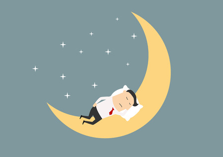Cartoon tired businessman sleeping on the moon surrounded by shining stars for relaxation or dreams concept design. Flat style