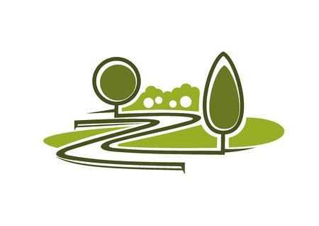 木、トリミング茂み、白い背景で隔離の芝生など緑の春パーク アイコンで Wnding 路地