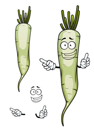 sappy: Happy daikon or white radish vegetable cartoon character with root and green sappy haulm, for agriculture design