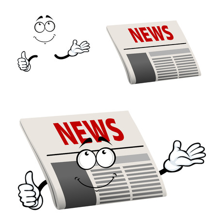 newspaper headline: Cartoon newspaper character with news  headline  show thumb up gesture, isolated on white background