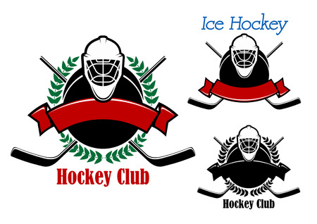 Ice hockey club emblems design with hockey pucks decorated by laurel wreath, ribbon banners, goalie masks on the top and crossed sticks on the background Illustration