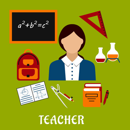 exercise book: Teacher profession concept design with woman encircled by blackboard with chalk formula, books, pen, laboratory flasks, school bag, exercise book with geometric figures, triangle ruler. Flat style Illustration