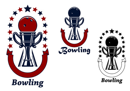 adorned: Bowling game icons design with bowling ball on the top of  trophy cup, adorned by ribbon banners and stars in colors variations Illustration