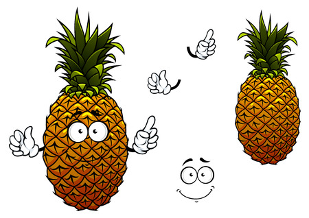 com escamas: Abacaxi personagem de banda desenhada amarelo maduro com folhas de cera na parte superior e �spera casca escamosa isolado no fundo branco