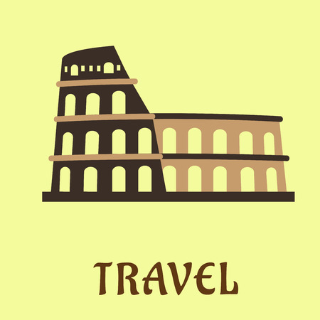 amphitheatre: Colosseum symbol in flat style with antique stone amphitheatre as famous italy architecture landmark in Roma, for travel design
