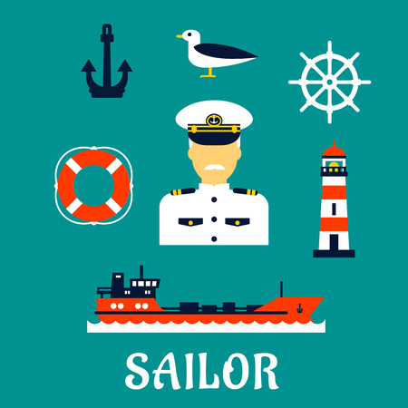 white uniform: Sailor professionconcept with moustached captain in white uniform with helm, ship, anchor, lifebuoy, lighthouse and seagull icons. Flat style