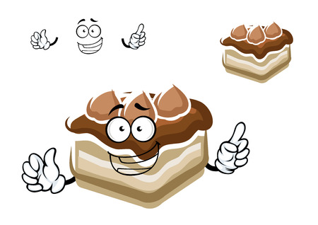 vanilla cake: Happy chocolate cake cartoon character with biscuits and sweet vanilla cream, isolated on white background Illustration