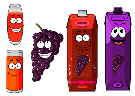 grape juice: Natural fresh grape juice cartoon characters with funny smiling glasses, bunch of glossy violet grape fruit and bright juice packs for beverage design
