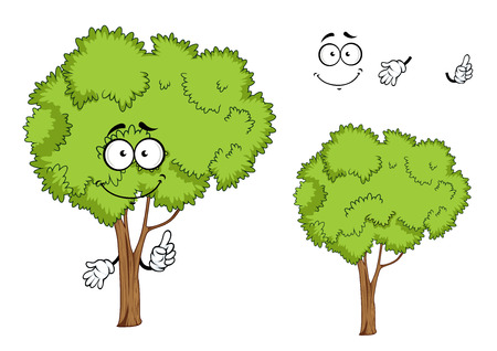 sappy: Cartoon green ree character with forked trunk and sappy green foliage, isolated on white, for ecology or landscape design