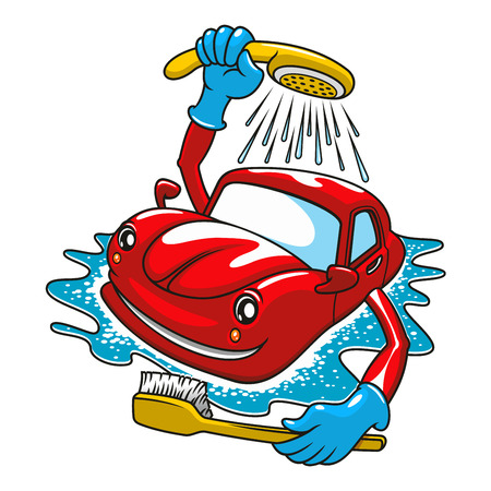 face wash: Cartoon happy red car character washing with brush and shower. For car service design